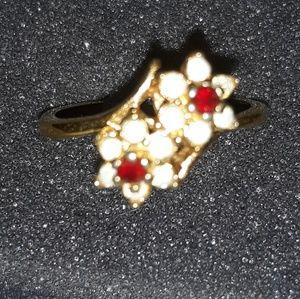 Jewelry - 18K GF Red/white Flower Ring